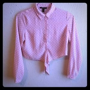 😍Forever 21😍 Pink Polka-Dot Blouse Size M
